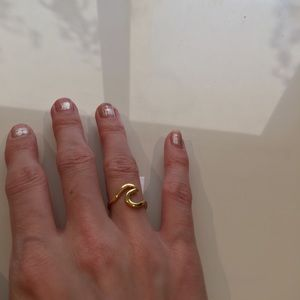 Gold Plated Modern Minimal Wave Ring Ocean 5